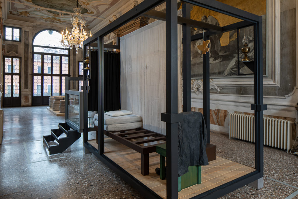 Siah Armajani, Edgar Allan Poe's Study, 2008. THE SPARK IS YOU: Parasol unit in Venice, installation view at Conservatorio di Musica Benedetto Marcello di Venezia, 2019. Courtesy the artist and Parasol unit. Photograph by Francesco Allegretto.