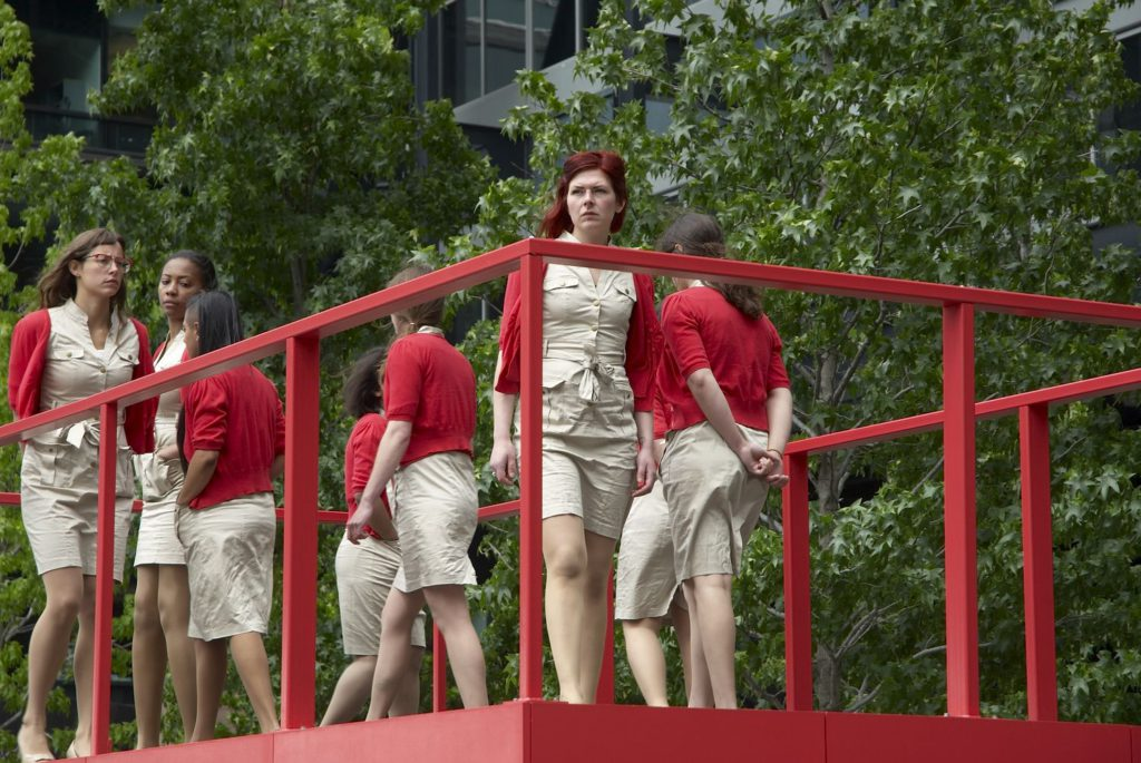Kate Gilmore, Walk the Line, Exchange Square, London, 2011. As part of Parasol Public 2011. © Kate Gilmore and Parasol unit foundation for contemporary art, London, 2011. Photograph by Stephen White.