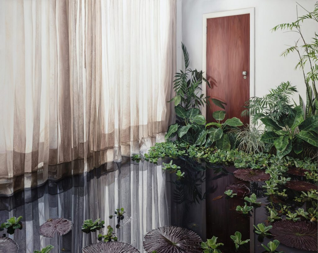 Water filled interior room with plants