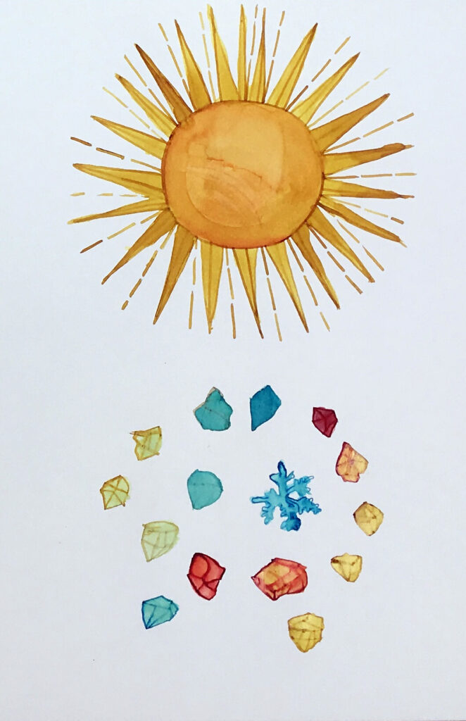 Christine Rebet, drawing of the sun and jewels.