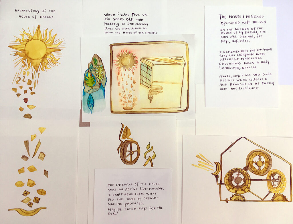 Drawings and texts describing the artist's House of Dreams
