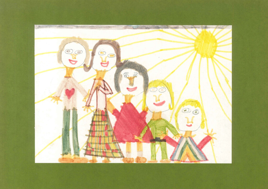 Family portrait drawing by Claudia Steinfels, when aged seven.