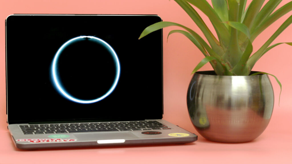 Black sun on a computer screen next to a plant