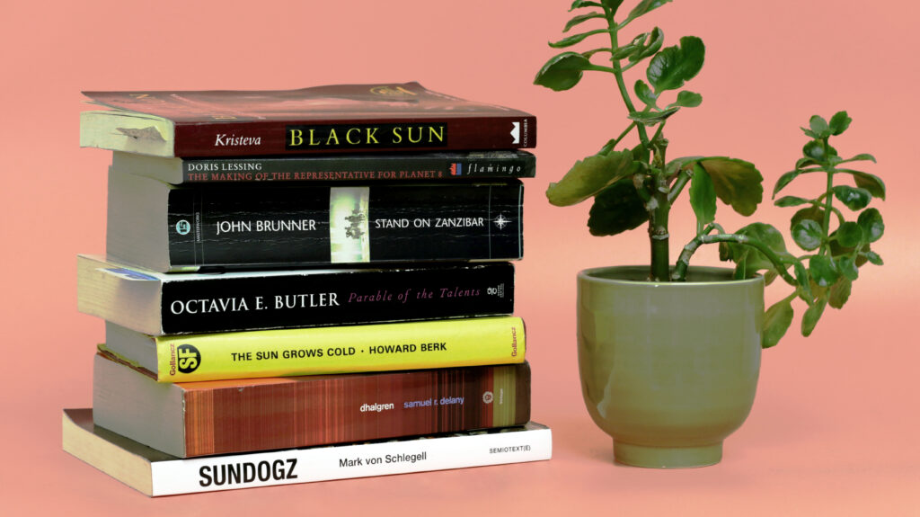 Stack of books next to a potted plant