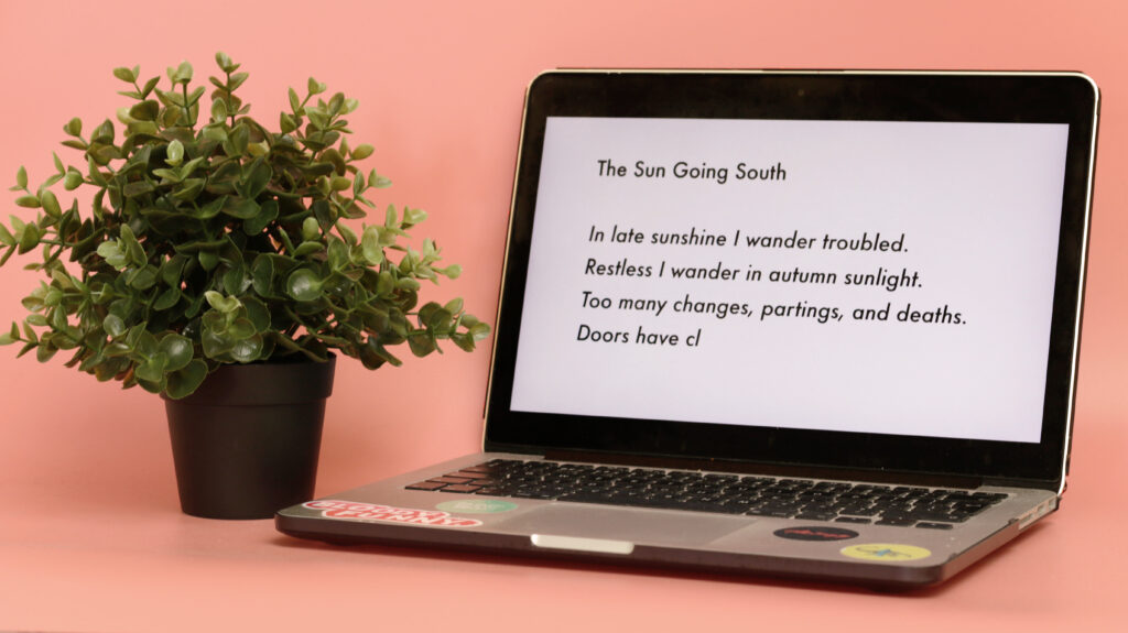 Ursula Le Guin's poem reading typed on a laptop screen