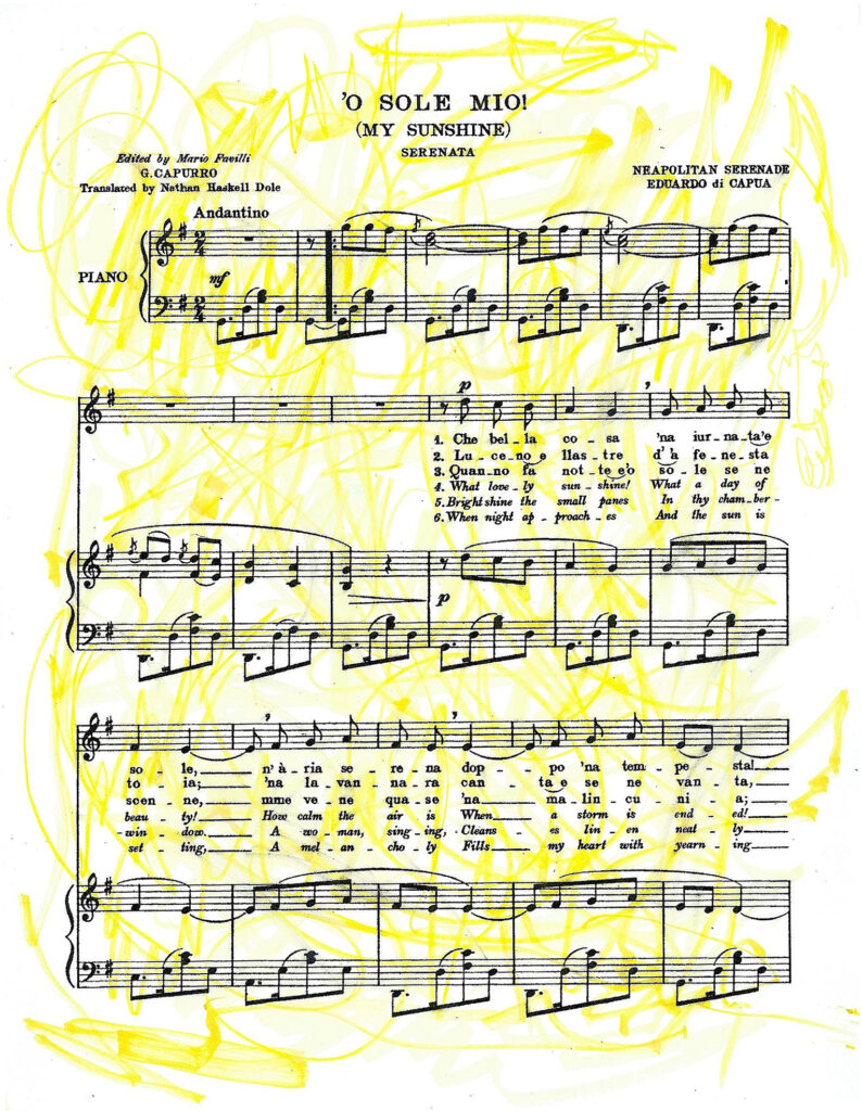 Sheet music of the O Sole Mio with automatic drawing in yellow pencil and marker