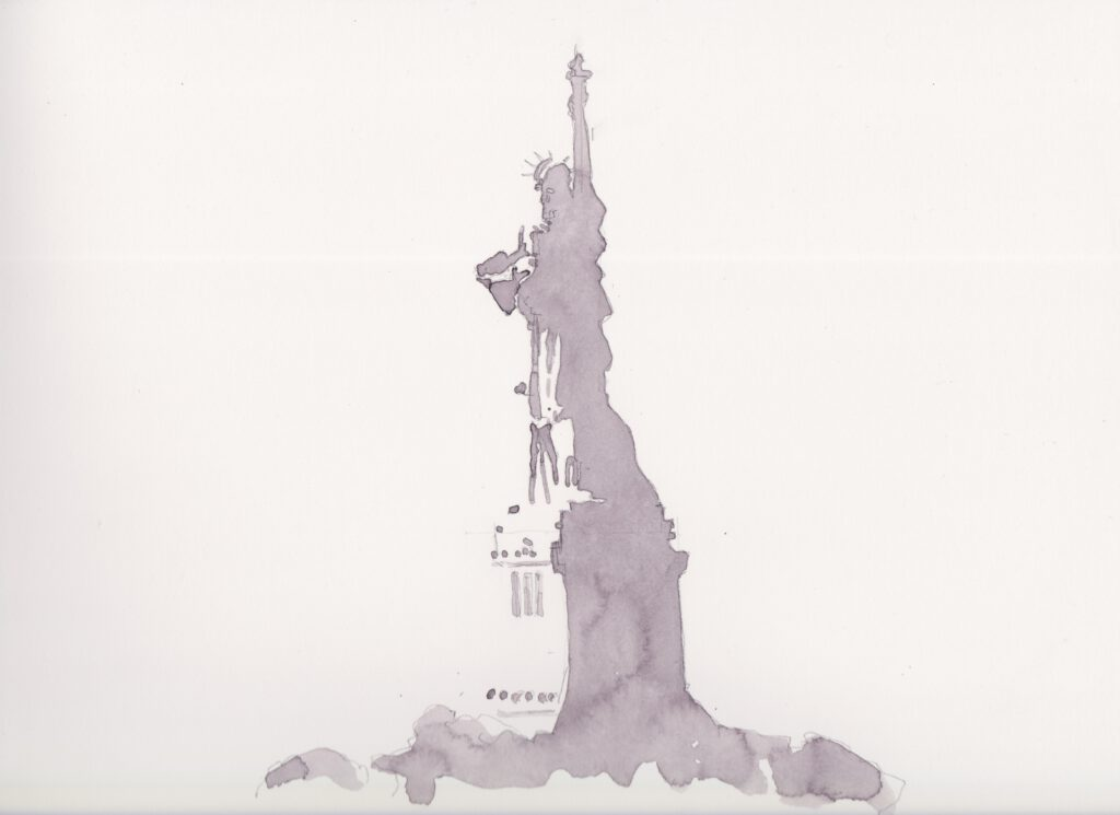 Aquarelle print of the Statue of Liberty