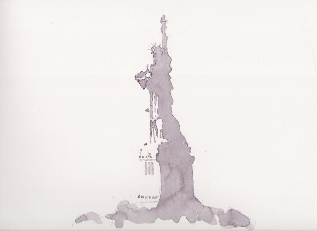 Aquarelle print of the Statue of Liberty
