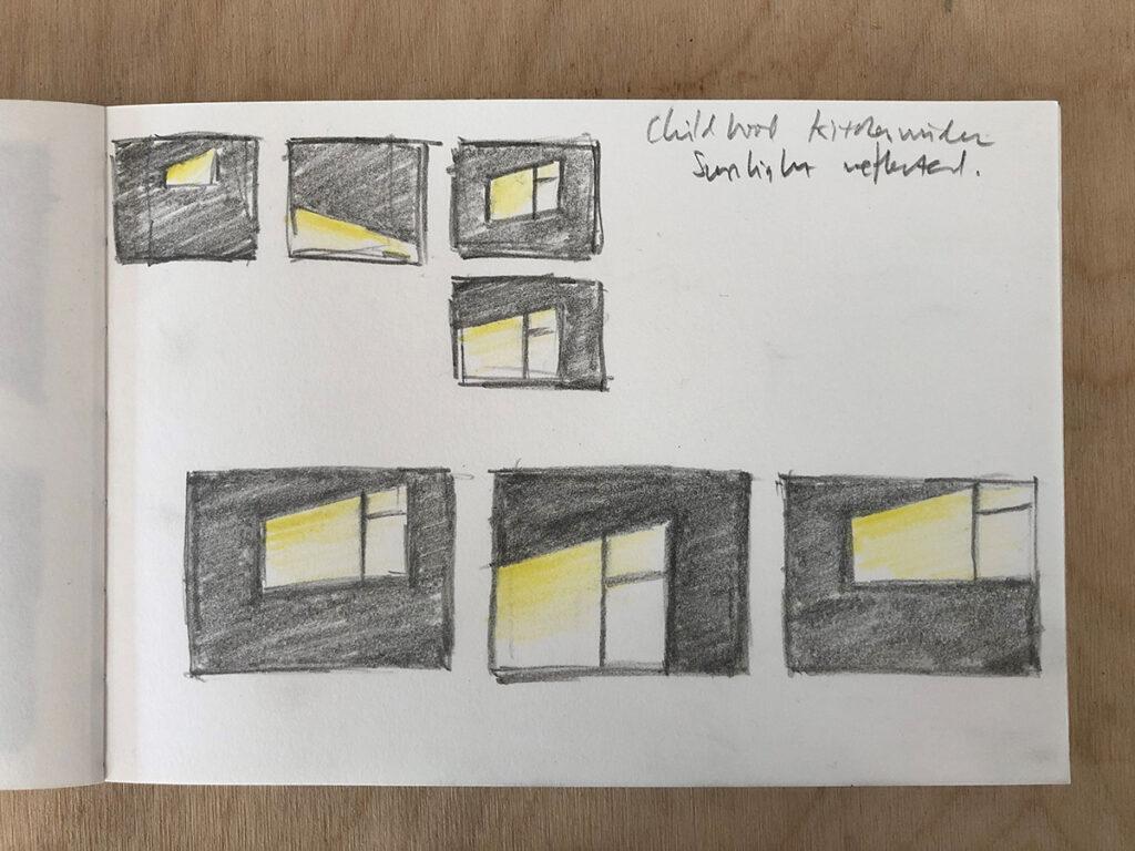 Sketchbook drawings of Kitchen Window