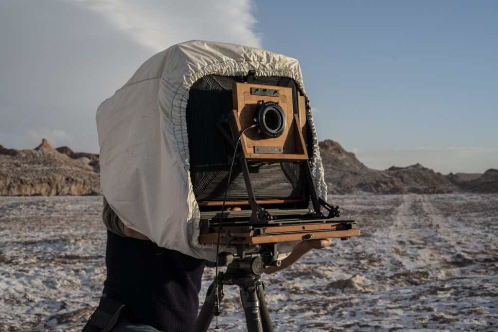Lens in camera - shooting at the Atacama desert