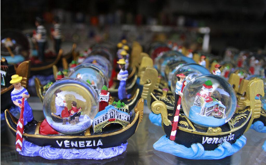 Souvenir gondolas in a shop window in Venice