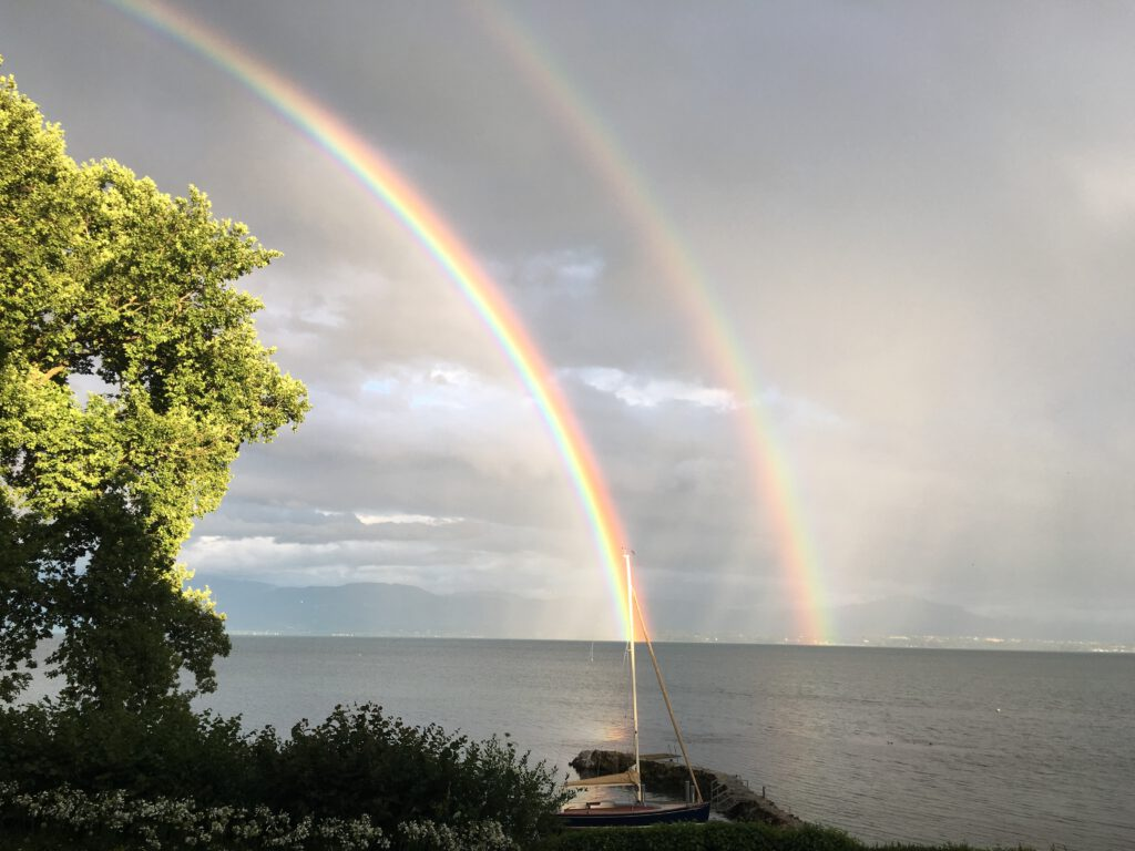 Double rainbow over a lake