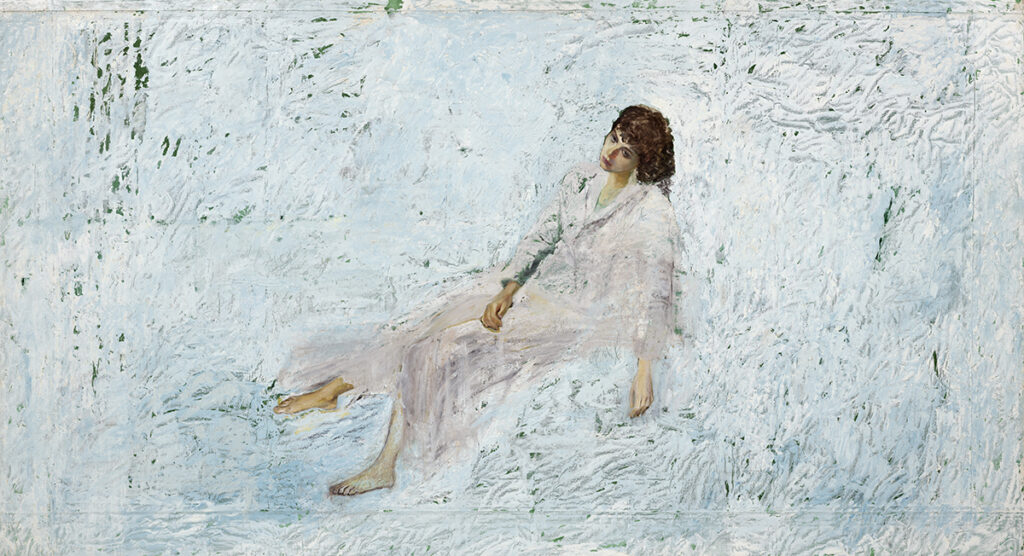 Painting of woman reclining with a white background