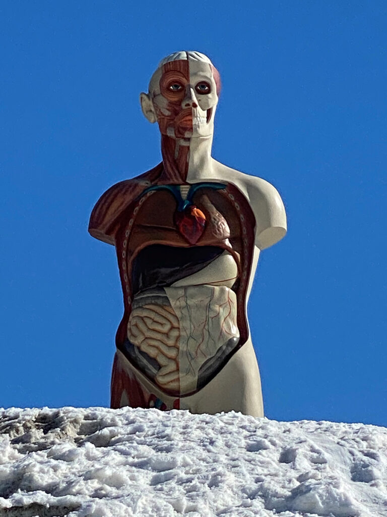 Damien Hirst, The Monk, sculpture in the snow in St Moritz, 2021