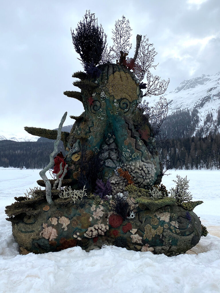 Damien Hirst's The Monk sculpture in the snow in St Moritz
