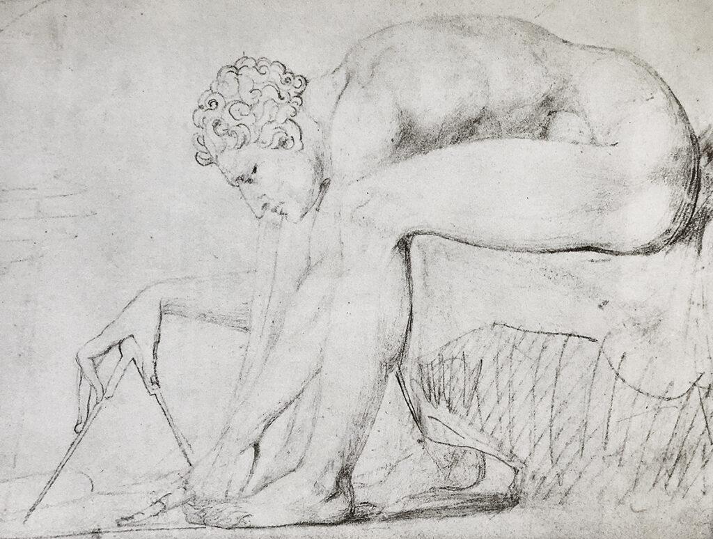 Isaac Newton pencil drawing